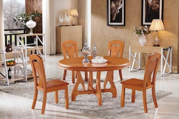 实木圆形餐桌 T285#